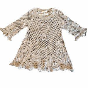 Trinity Cream Crochet Tunic Dress